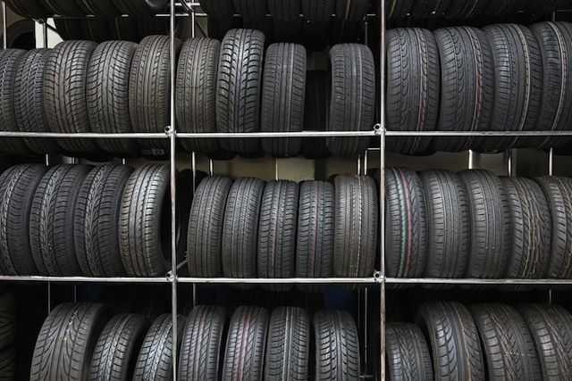 A stack of car tyres to choose from