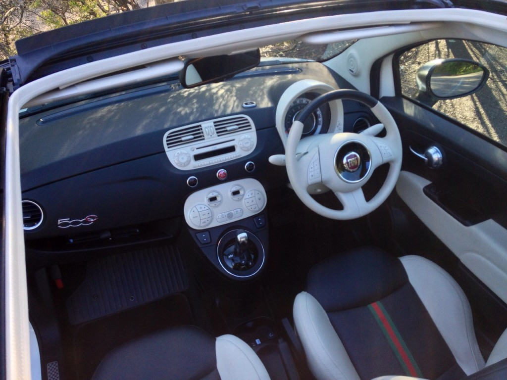 The Interior Of The Fiat 500C By Gucci Features Plenty Of Retro Appeal.