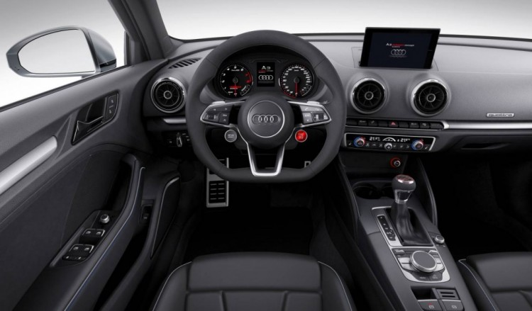 stop and start buttons are on the steering wheel in the Audi A3 Clubsport Quattro concept