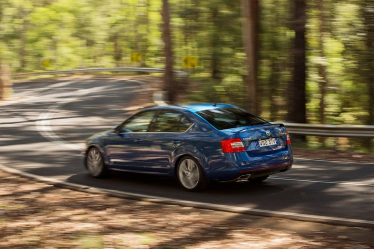skoda octavia rs driving on a twisting road