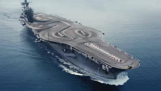 BMW M4 drifts around a US aircraft carrier