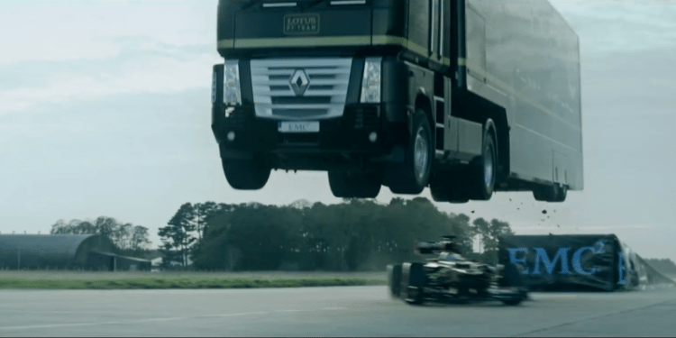 World record truck jump by Lotus F1 Team and EMC