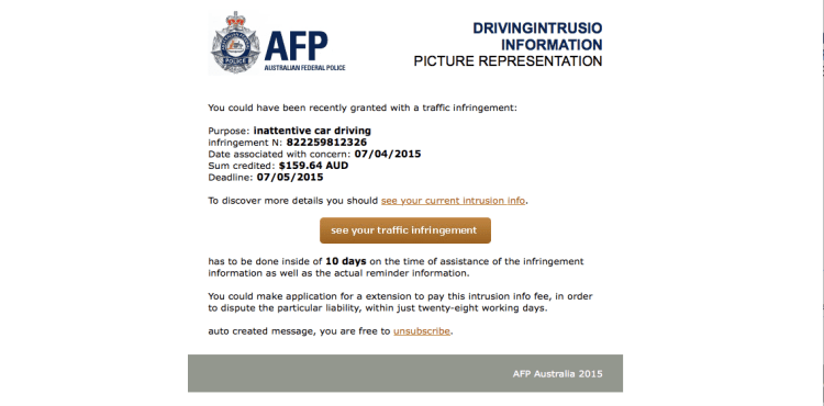 AFP warns about traffic infringement email scam