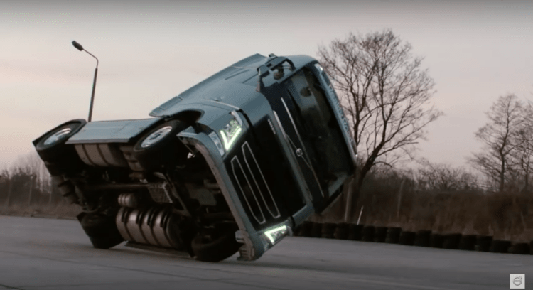 Volvo Truck drives on two wheels