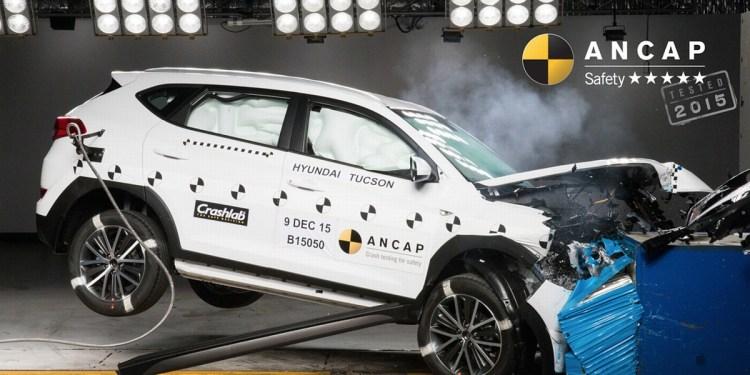 Hyundai Tucson undergoes ANCAP crash testing.