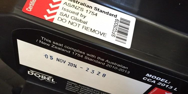child car restraint manufacture date