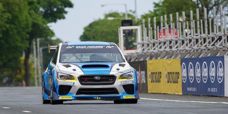 Mark Higgins on Glencrutchery Road for the Subaru practice lap.