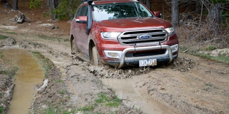 Ford Everest Trend 4WD driving through mud ruts