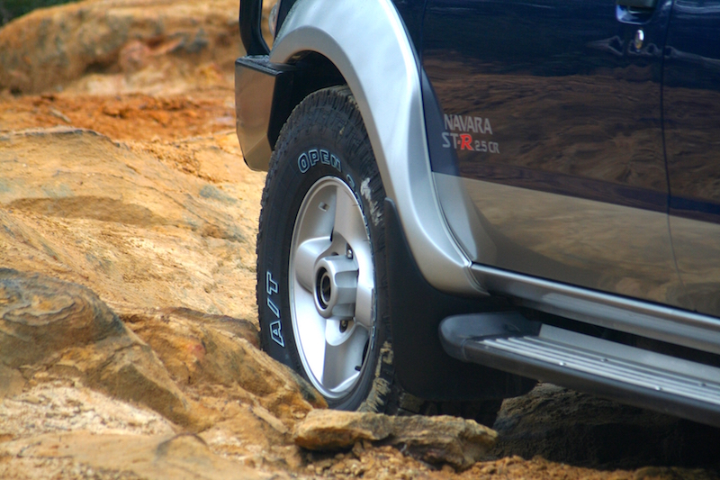 Lowering pressures on rock tracks allows the tyres to flex more easily so they can conform to the terrain.