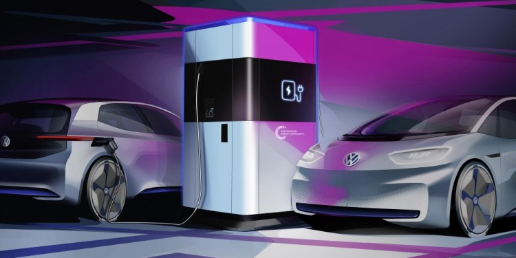 volkswagen teases portable electric vehicles fast charging stations