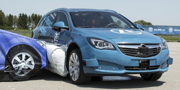 ZF has successfully demonstrated an external side airbag for cars that doesn't react like a traditional airbag but predicts the collision becoming an additional crumple zone.