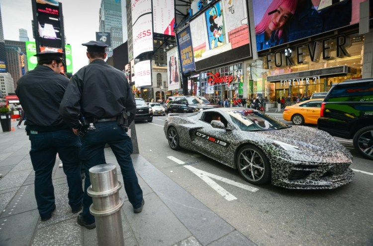 Chevrolet announces the next generation Corvette will debut 07.18.19. A camouflaged next generation Corvette travels down 7th Avenue near Times Square Thursday, April 11, 2019 in New York, New York. (Photo by Jennifer Altman for Chevrolet)