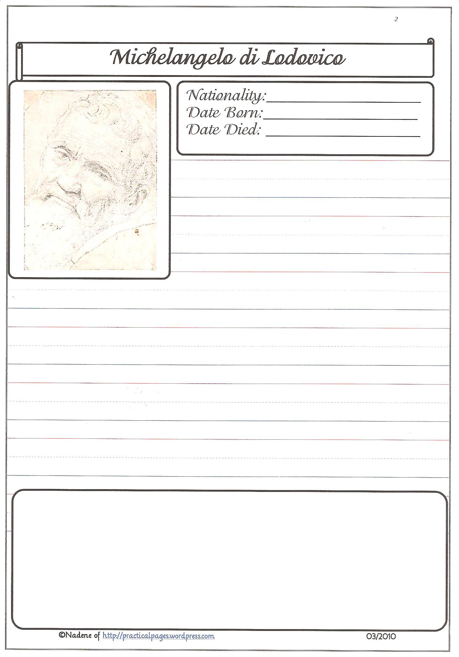 Picasso Portrait Worksheet
