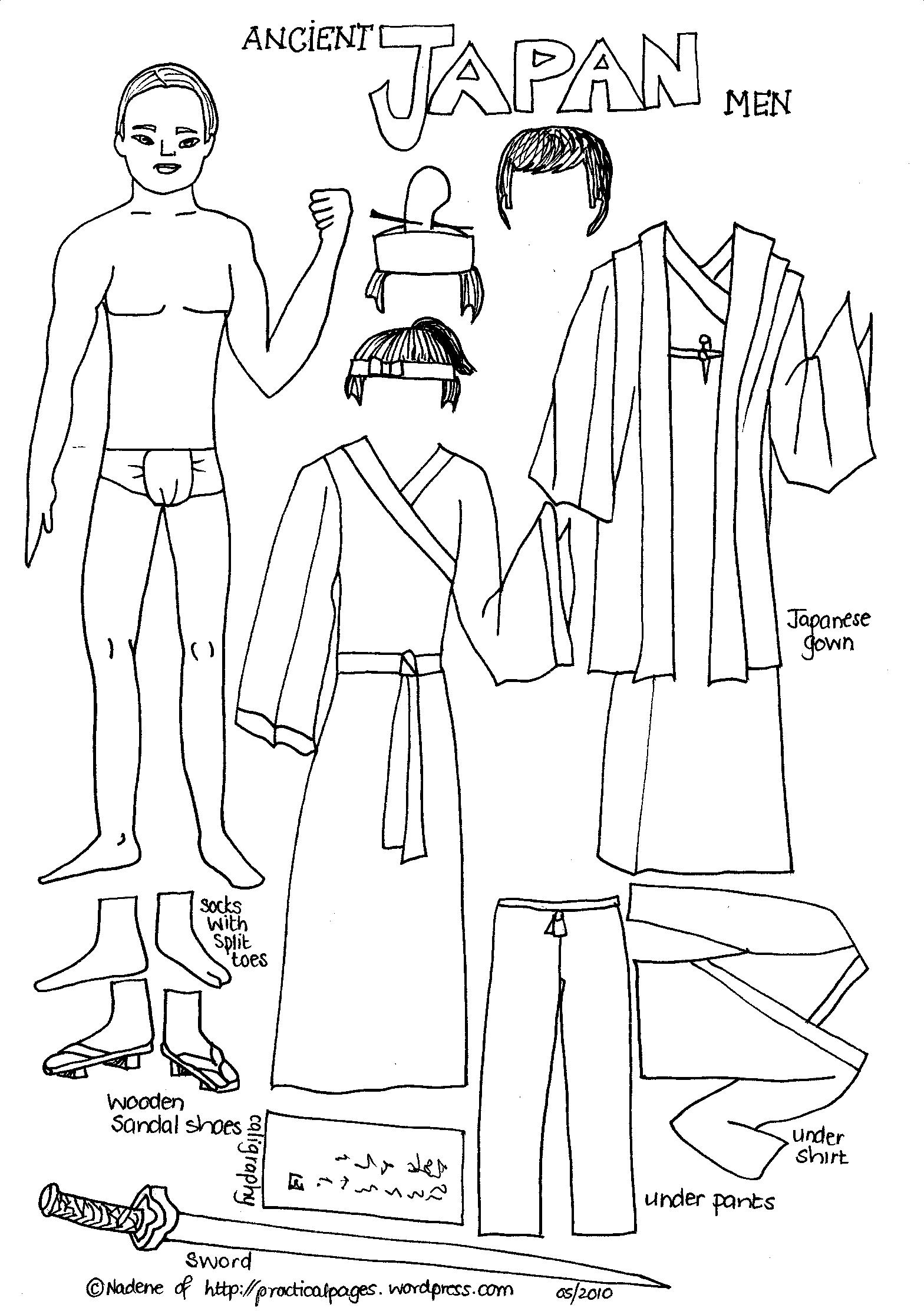 Ancient History Japan Men Paper Dolls Ancient Japan