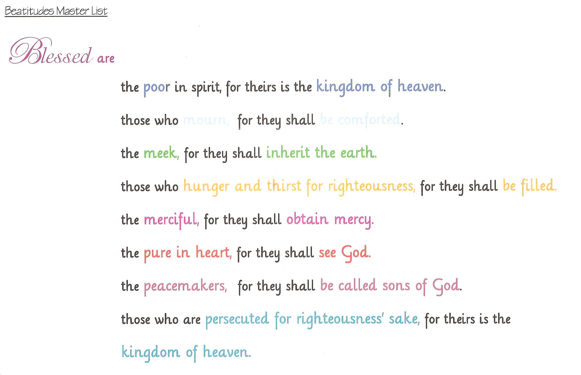 Memorizing The Beatitudes