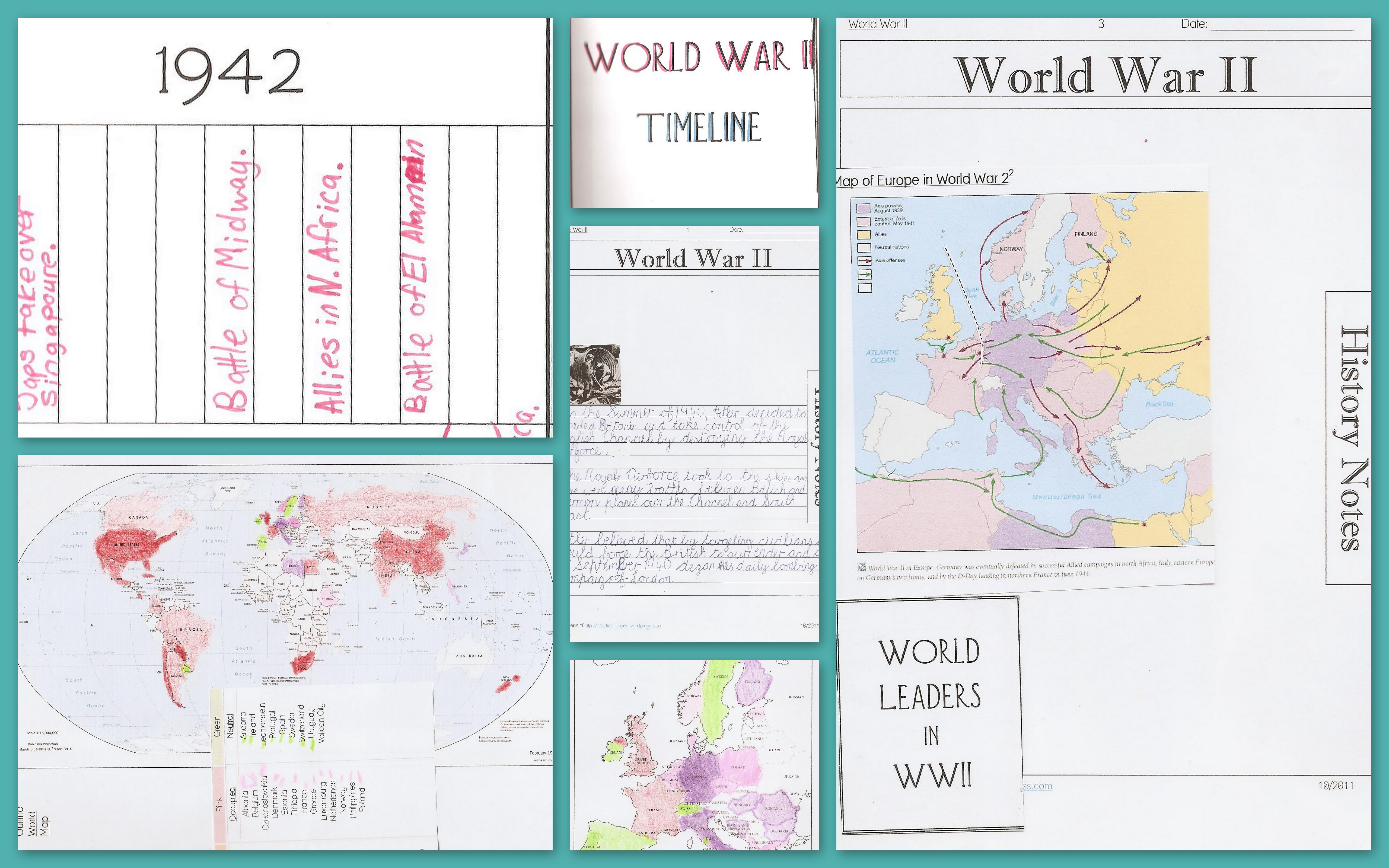 World War Ii Notebook Pages Maps Timelines Amp Online