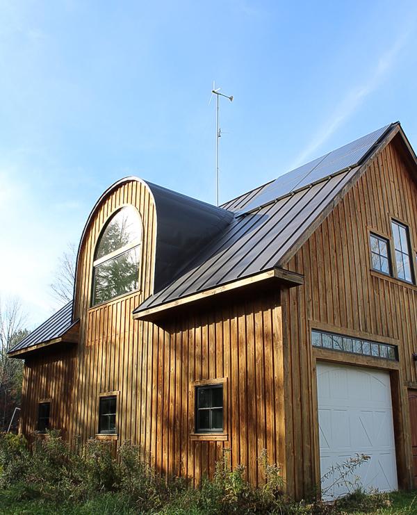 Solar Panels & Wind Turbine on Shop