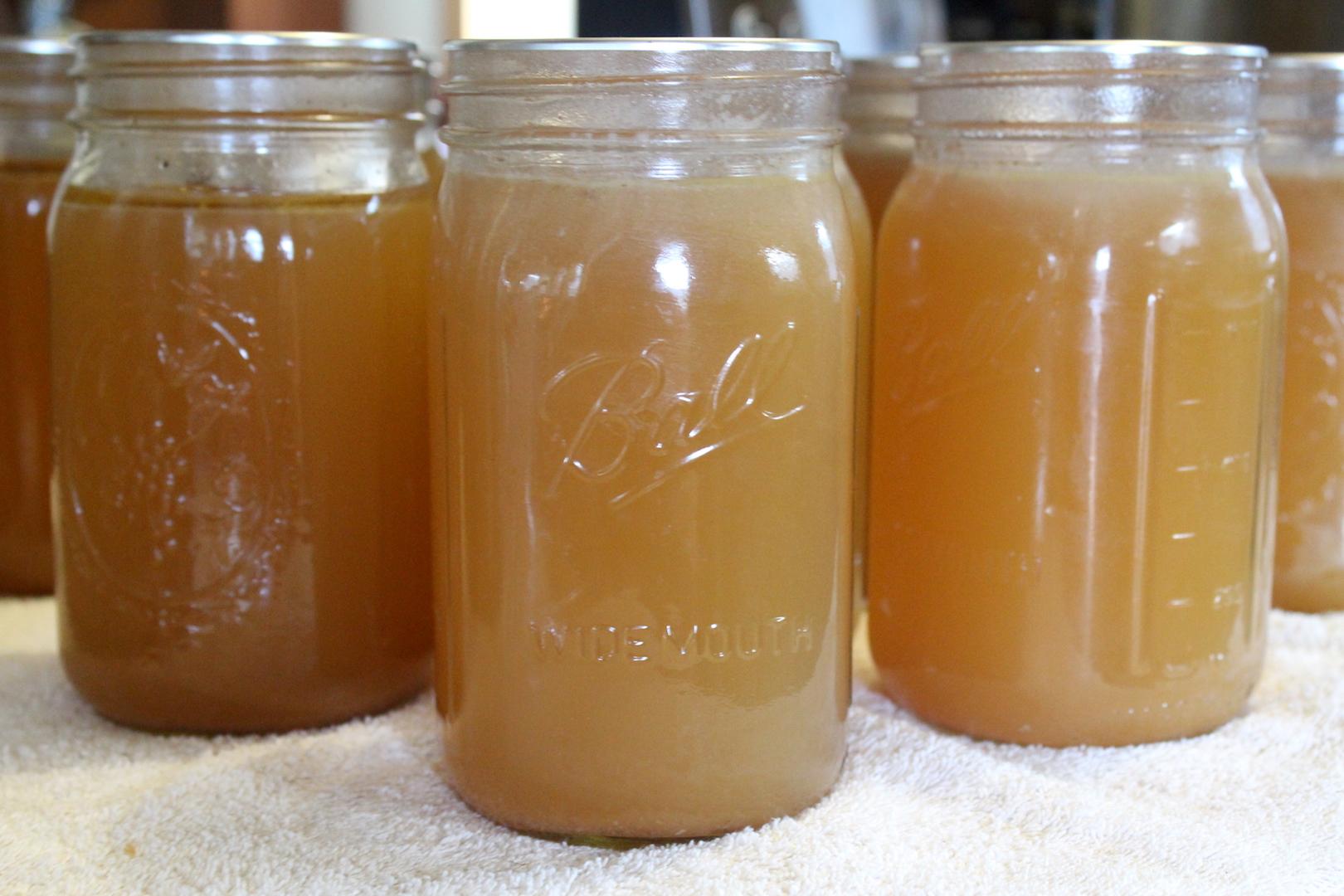 Shelf stable bone broth in canning jars