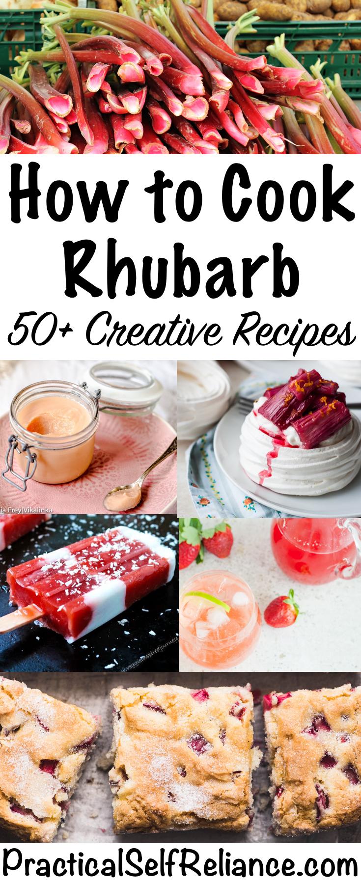 How to Cook Rhubarb ~ 50+ Creative Rhubarb Recipes ~ Sweet and Savory Rhubarb Recipes #rhubarb #rhubarbrecipes #springrecipes #gardenrecipes #food