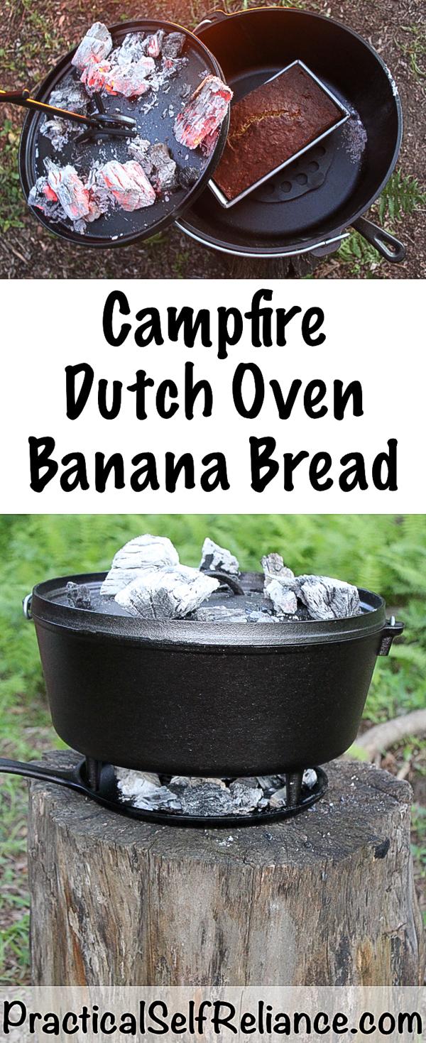 Campfire Dutch Oven Banana Bread #bananabread #camping #campingfood #campingrecipes #dutchovenrecipes #dutchoven #survial #preparedness #prepper #shtf #glamping