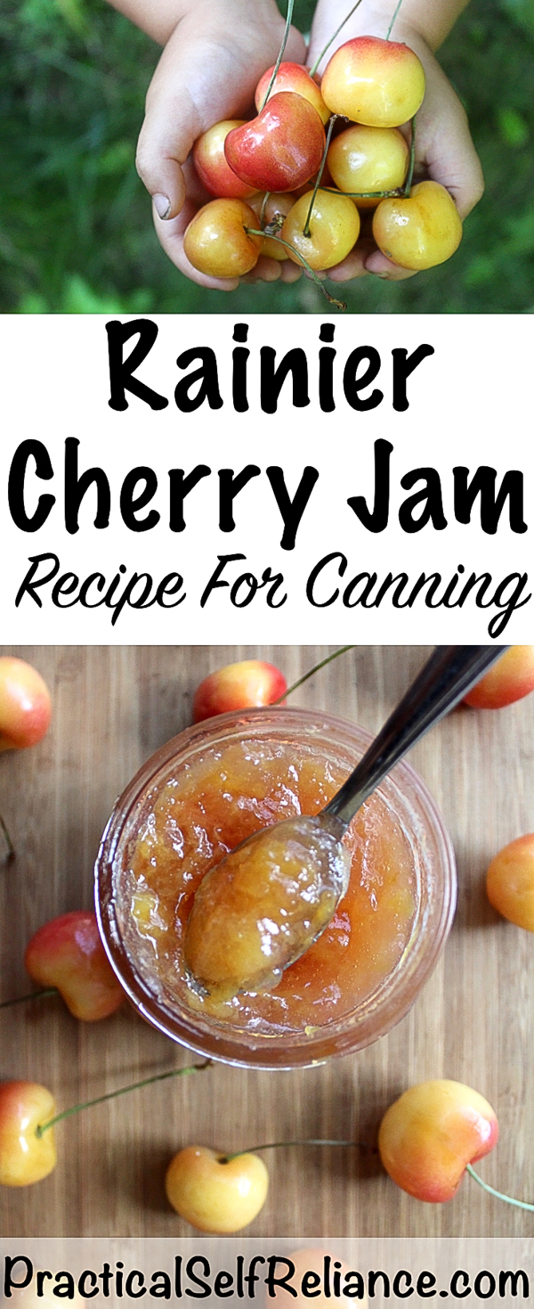 Rainier Cherry Jam Recipe For Canning #cherry #rainiercherry #cherryjam #jamrecipes #foodpreservation #canning #preservingfood #jam #homesteading
