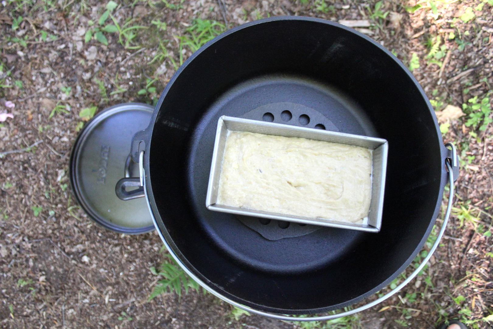 Raw Banana Bread in Dutch Oven