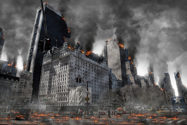 Causes of Nuclear Winter ~ Cities burning releasing soot into the atmosphere