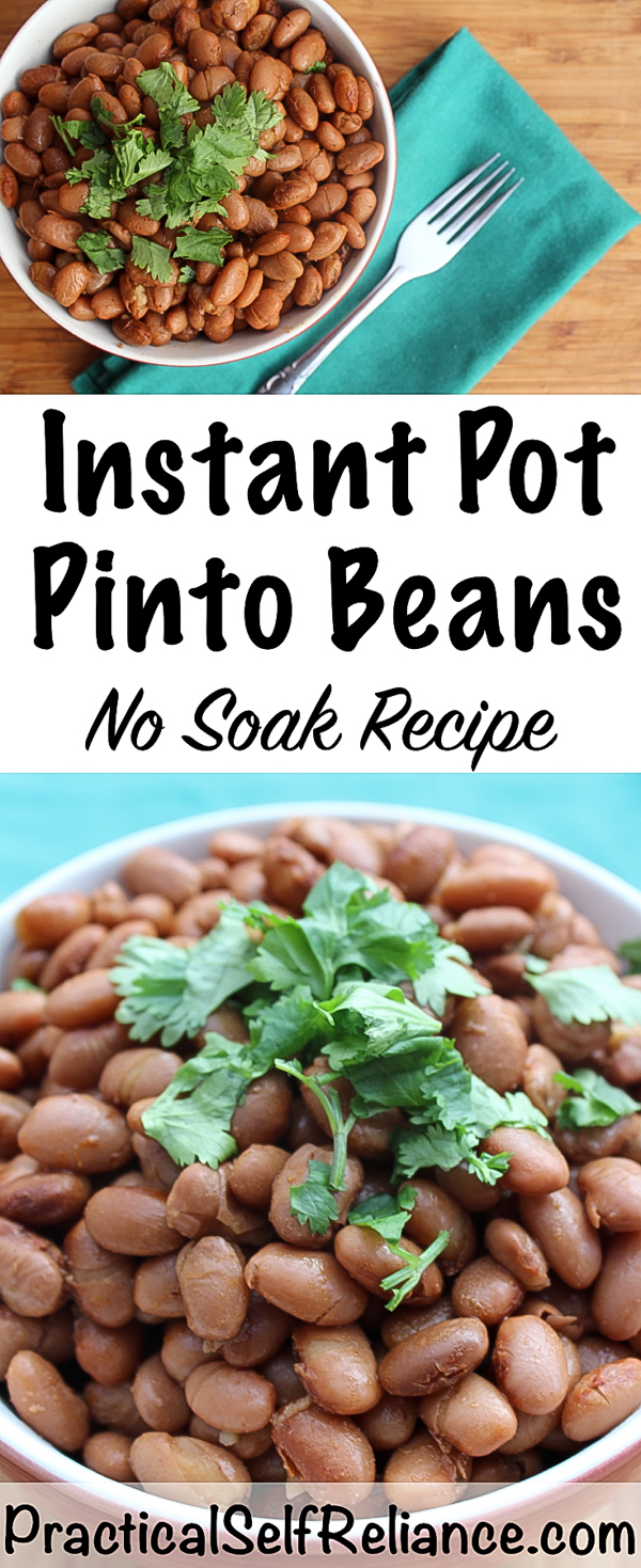 No Soak Instant Pot Pinto Beans Recipe - Practical Self Reliance #pintobeans #recipes #beans #instantpot #howtomake #nosoak