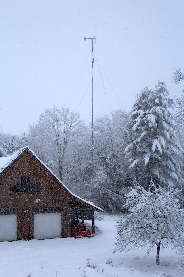 Wind turbine & tractor in snow