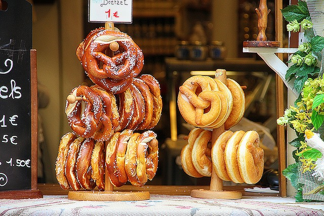 Pretzels traditionally used wood ash water, but these days baking soda is more common.