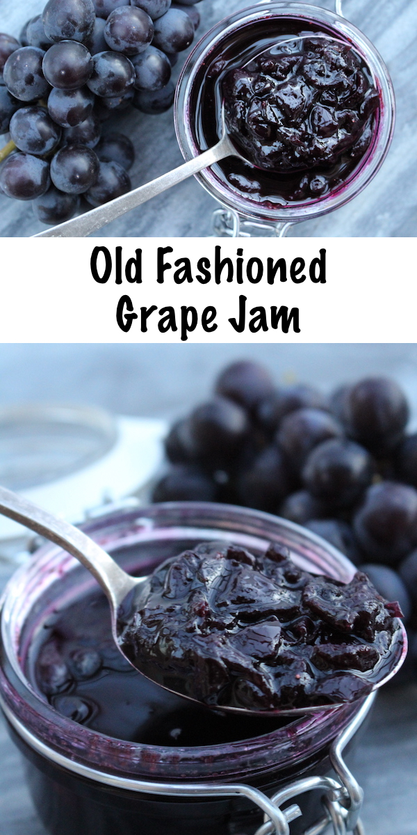 Old Fashioned Grape Jam Recipe ~ Grape Jam Recipe with No Added Pectin ~ Concord Grape Jam or any other grape variety. #grape #recipe #jamrecipe #howtomake #foodpreservation #canning #homesteading