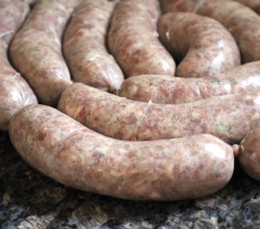 Homemade Lamb Sausage with Rosemary & Red Wine