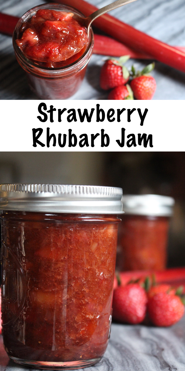 Homemade Strawberry Rhubarb Jam ~ This easy strawberry rhubarb jam is made without pectin. This recipe can be used for home canning or as a freezer jam. Instructions for a strawberry rhubarb jam with pectin are also provided, as well as low sugar options.