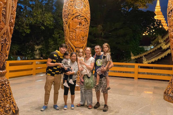 With our friends and AirBnB hosts Jet, Pitcha and their son Shira in Chiang Mai, Thailand
