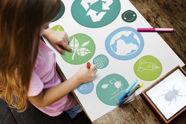 sustainable education board child learning about the world and doing project