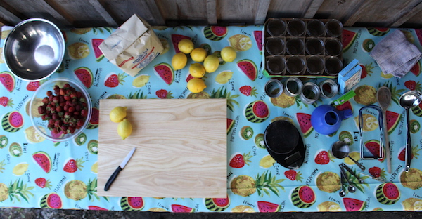 Folding table setup in my canning kitchen