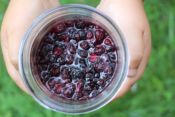 Black Raspberry Jam Ingredients in a Jar ~ Fruit, Sugar and Lemon Juice together to preserve the fruit until more is harvested.