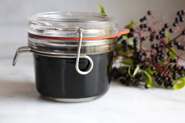 Jar of homemade elderberry syrup