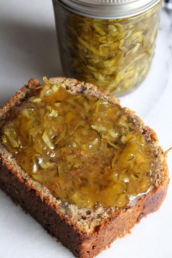 zucchini marmalade on zucchini bread