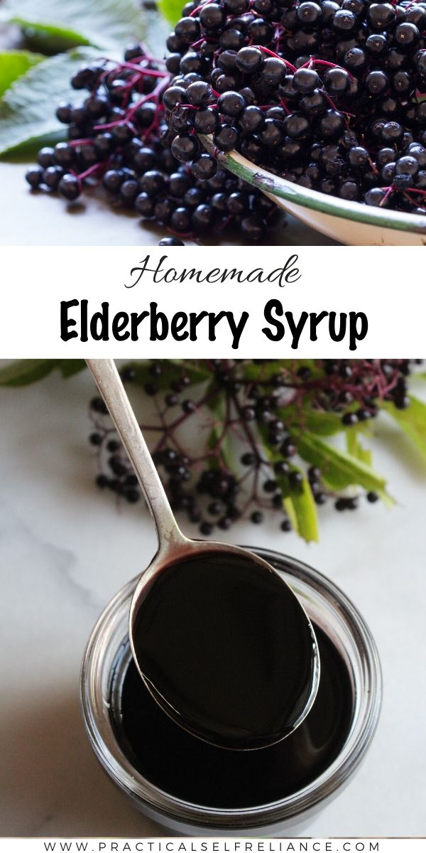 Homemade Elderberry Syrup ~ Learn how to make elderberry syrup at home.  Elderberry syrup has been shown to be effective natural remedy for flu. #herbal #herbalmedicine #elderberry