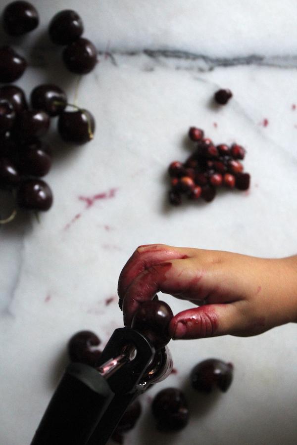 Pitting Cherries for Black Cherry Jam