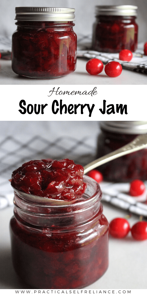 Old Fashioned Sour Cherry Jam Recipe ~ This simple cherry jam recipe uses sour cherries for the best cherry flavor.  The finished jam comes together without added pectin.  #cherry #jam #cherryjam #sourcherry #tartcherries #tartcherry
