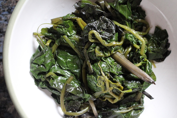Cooked Marsh Marigold Greens