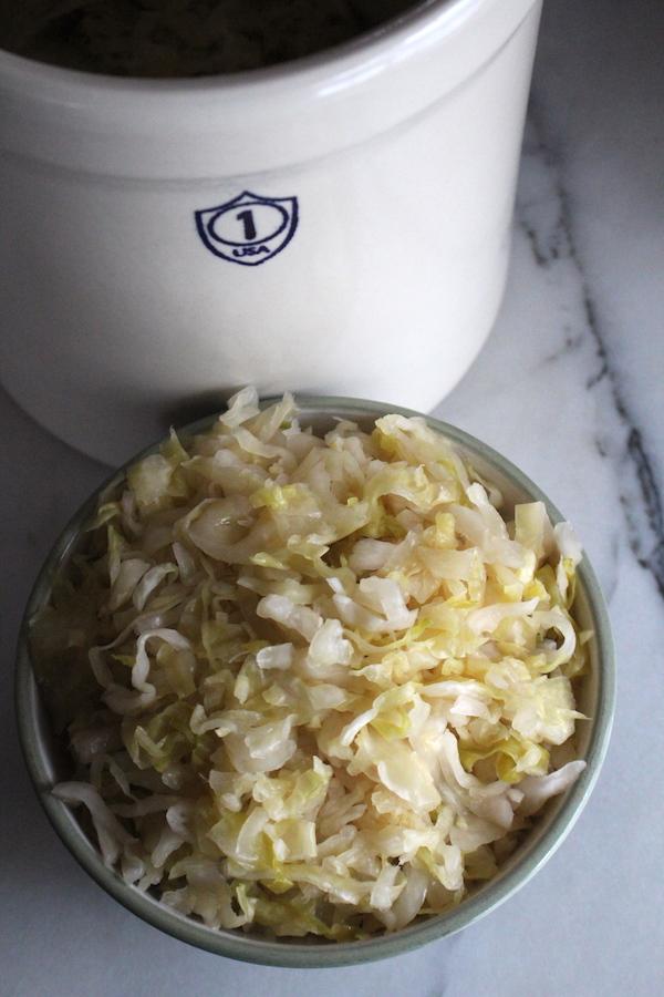 Finished Sauerkraut from a Crock