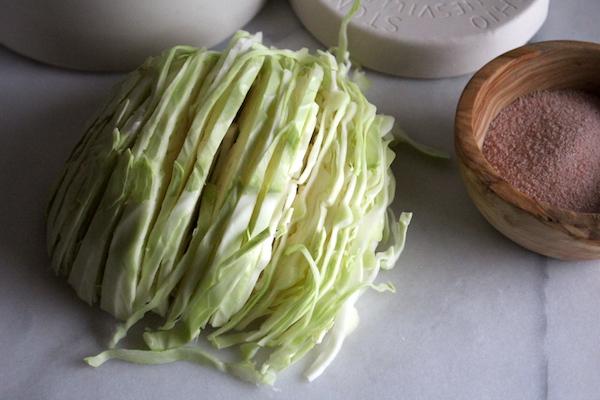 Slicing cabbage for sauerkraut