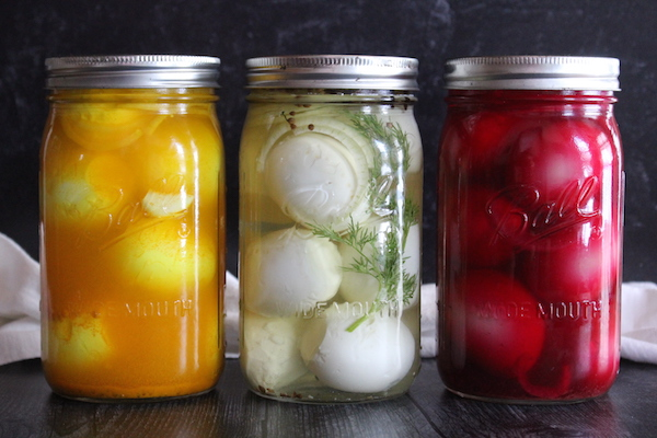 Homemade Pickled Eggs with various spices