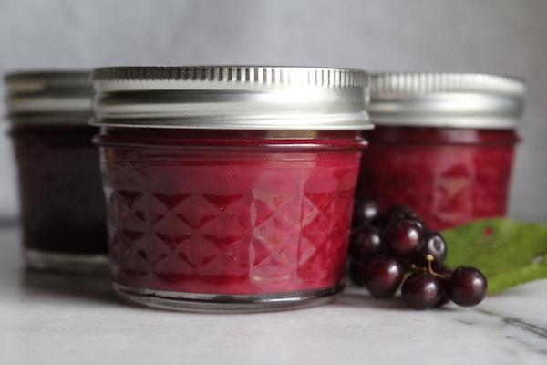 Homemade chokecherry jam in quarter pint jars