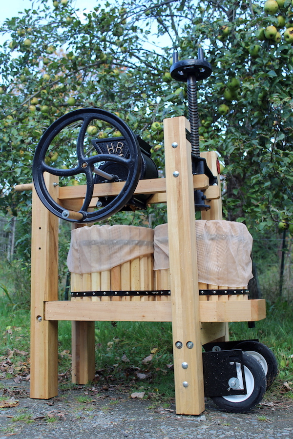 Double Barrel Cider Press makes quick work of fresh apples for homemade apple cider vinegar