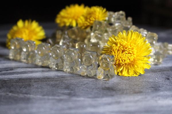 Homemade dandelion and honey gummy bears