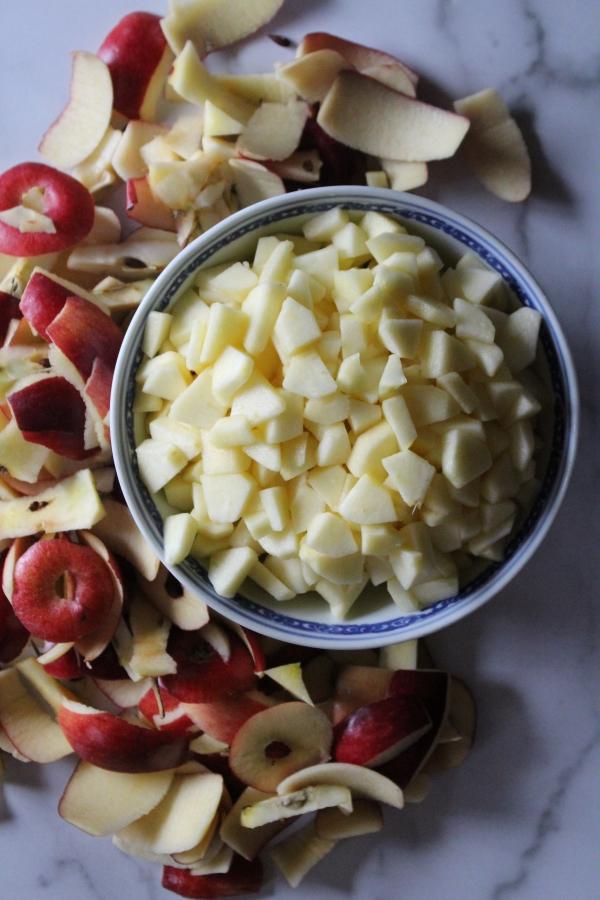 Chopped Apples for Making Apple Jam